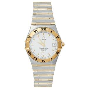 Omega Silver 18K Yellow Gold and Stainless Steel Constellation 1202.30.00 Men's Wristwatch 35.5 mm