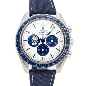 """Omega White Stainless Steel Speedmaster Chronograph Anniversary Series """"Silver Snoopy Award"""" 310.32.42.50.02.001 Men's Wristwatch 42 MM"""