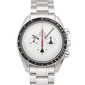 Omega White Stainless Steel Speedmaster Professional Moonwatch Alaska Project Limited Edition 311.32.42.30.04.001 Men's Wristwatch 42 MM