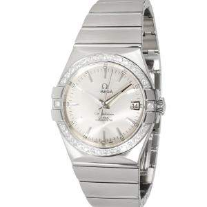 Omega Silver Diamonds Stainless Steel Constellation 123.15.35.20.02.001 Men's Wristwatch 35 MM