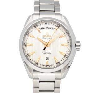 Omega Silver Stainless Steel Seamaster Aqua Terra 150m Day-Date 231.10.42.22.02.001 Men's Wristwatch 41.5 MM