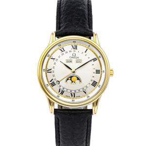 ساعة يد رجالية أوميغا دو فيل تريبل كالندر 156.003 ذهب أصفر عيار 18 أبيض 35 مم