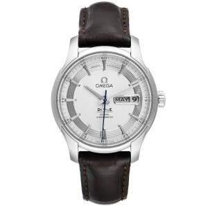 ساعة يد رجالية أوميغا دي فيل 431.33.41.22.02.001 بتقويم سنوي ستانلس ستيل فضية 41 مم