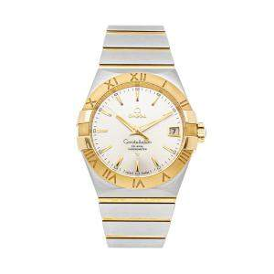 Omega Silver 18K Yellow Gold And Stainless Steel Constellation 123.20.38.21.02.002 Men's Wristwatch 38 MM