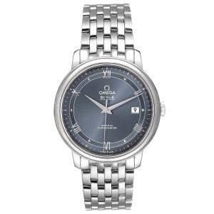 Omega Blue Stainless Steel DeVille Prestige 424.10.40.20.03.002 Men's Wristwatch 39.5 MM
