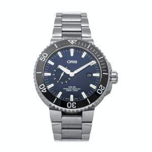 Oris Black Stainless Steel Aquis Small Second Date 01 743 7733 4135-07 8 24 05PEB Men's Wristwatch 45.5 MM