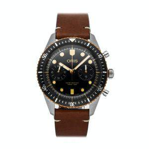Oris Black Stainless Steel Divers Sixty-Five Chronograph 01 771 7744 4354-07 5 21 45 Men's Wristwatch 43 MM