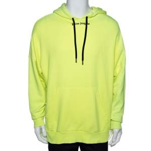 Palm Angels Fluorescent Yellow Logo Print Cotton Hoodie M