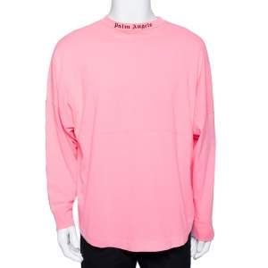 Palm Angels Neon Pink Logo Print Cotton Long Sleeve T-Shirt M