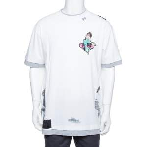Palm Angels White Mermaid Printed Cotton & Applique Detail Crewneck T-shirt L