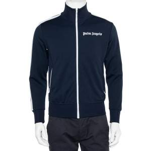 Palm Angels Navy Blue Jersey Strip Detail Track Jacket S
