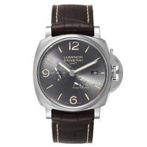 Panerai Gray Stainless Steel Luminor Due GMT Automtic PAM00944 Men's Wristwatch 45 MM