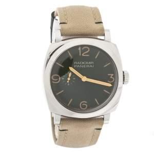 ساعة يد رجالية بانيراي راديومير بي أيه أم00995 كانفاس ستانلس ستيل خضراء 45 مم
