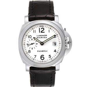 Panerai White Stainless Steel Luminor Marina PAM00049 Men's Wristwatch 40MM
