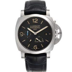 Panerai Black Stainless Steel Luminor Marina 1950 3 Days GMT PAM01321 Men's Wristwatch 44 MM