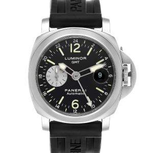 Panerai Black Stainless Steel Luminor GMT Automatic PAM00088 Men's Wristwatch 44 MM