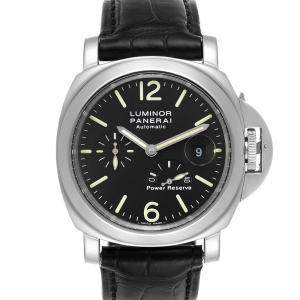 Panerai Black Stainless Steel Luminor Power Reserve Automatic PAM00090 Men's Wristwatch 44 MM