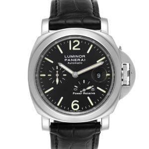 Panerai Black Stainless Steel Luminor Power Reserve Automatic PAM00090 Men's Wristwatch 44 MM