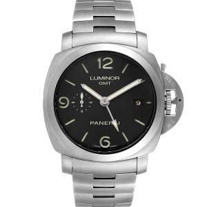 Panerai Black Stainless Steel Luminor 1950 3 Days GMT PAM00329 Men's Wristwatch 44 MM