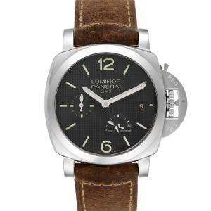 Panerai Black Stainless Steel Luminor 1950 Power Reserve 3 Day GMT PAM00537 Men's Wristwatch 42 MM