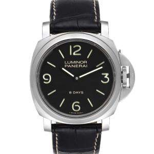 Panerai Black Stainless Steel Luminor Base 8 Days Acciaio Automatic PAM00560 Men's Wristwatch 44 MM