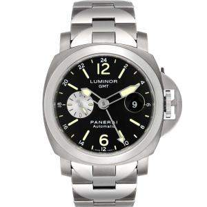 Panerai Black Stainless Steel Luminor GMT Automatic PAM00161 Men's Wristwatch 44 MM