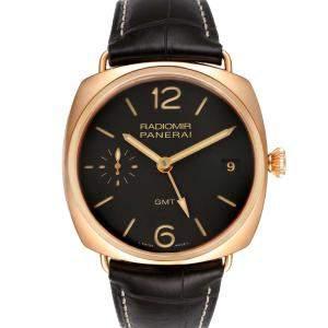 Panerai Black 18K Rose Gold Radiomir 3 Days 1940 GMT PAM00421 Men's Wristwatch 47 MM