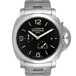 Panerai Black Stainless Steel Luminor 1950 3 Days GMT PAM00347 Men's Wristwatch 44 MM