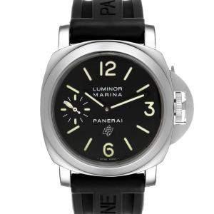 Panerai Black Stainless Steel Luminor Marina PAM00005 Men's Wristwatch 44 MM