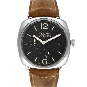 Panerai Black Stainless Steel Radiomir Acciaio 10 Days GMT PAM00323 Men's Wristwatch 47 MM