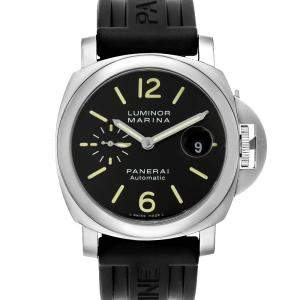 Panerai Black Stainless Steel Luminor Marina Automatic PAM00104 Men's Wristwatch 44 MM