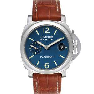 Panerai Blue Stainless Steel Luminor Automatic PAM00119 Men's Wristwatch 40 MM