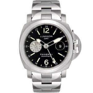 Panerai Black Stainless Steel Luminor GMT Automatic PAM00161 Men's Wristwatch 44 MM
