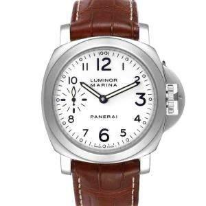 ساعة يد رجالية بانيراي لومينور مارينا  بي أيه أم00113 ستانلس ستيل أبيض 44 مم