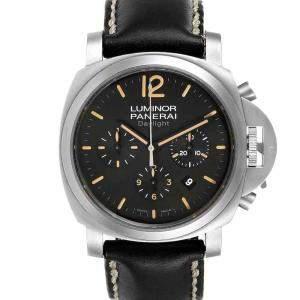 ساعة يد رجالية بانيراي لومينور دايلايت كرونوغراف بي أيه أم00356 ستانلس ستيل أسود 44 مم
