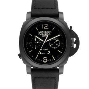Panerai Black Ceramic Luminor 1950 8 Days GMT 24H PAM00317 Men's Wristwatch 44 MM