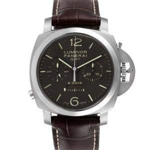 Panerai Black Titanium Luminor Monopulsante 8 Days GMT PAM00311 Men's Wristwatch 44 MM