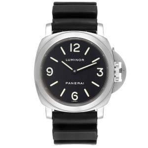Panerai Black Stainless Steel Luminor Base PAM00112 Men's Wristwatch 44 MM