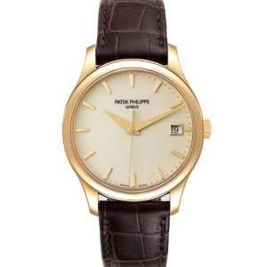 Patek Philippe Silver 18K Yellow Gold Calatrava Hunter Case 5227 Men's Wristwatch 38 MM