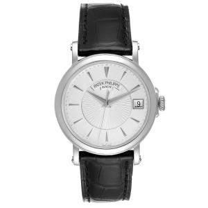 Patek Philippe Silver 18k White Gold Calatrava 5153G Men's Wristwatch 38 MM