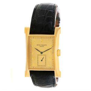 Patek Philippe Champagne 18K Yellow Gold Pagoda Men's Wristwatch 26MM