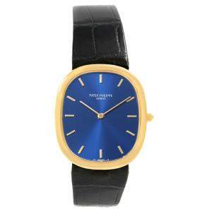 Patek Philippe Blue 18K Yellow Gold Golden Ellipse Men's Wristwatch 31MM