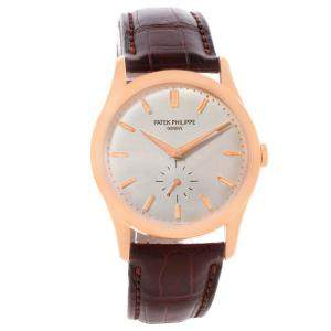 Patek Philippe Silver 18K Rose Gold Calatrava Men's Wristwatch 37MM