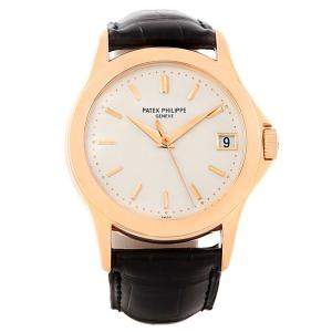 Patek Philippe Matte Silver 18K Rose Gold Calatrava Men's Wristwatch 37MM