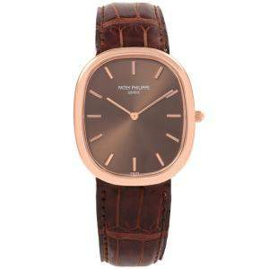 Patek Philippe Brown 18K Rose Gold Golden Ellipse Men's Wristwatch 35.6MM