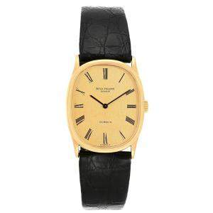 Patek Philippe Champagne 18K Yellow Gold and Leather Golden Ellipse 3846 Men's Wristwatch 32x27MM