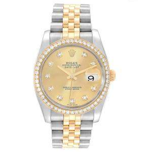 Rolex Champagne 18K Yellow Gold Diamond and Stainless Steel Datejust 116243 Men's Wristwatch 36MM