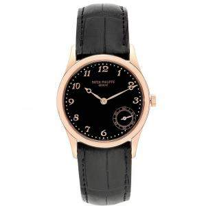 Patek Philippe Black 18K Rose Gold Calatrava 5026R Men's Wristwatch 33 MM