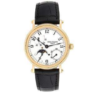 Patek Philippe White 18K Yellow Gold Calatrava Moon Phase 5015 Men's Wristwatch 35.5MM