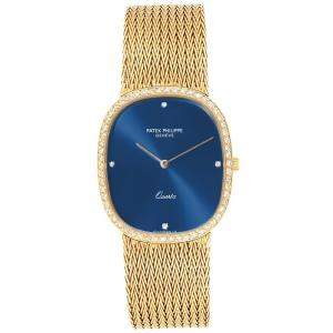 Patek Philippe Blue 18K Yellow Gold and Diamond Ellipse 3875 Men's Wristwatch 35x 31MM